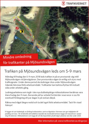 Affisch omledning Mjösundsvägen 5-9 mars 2018