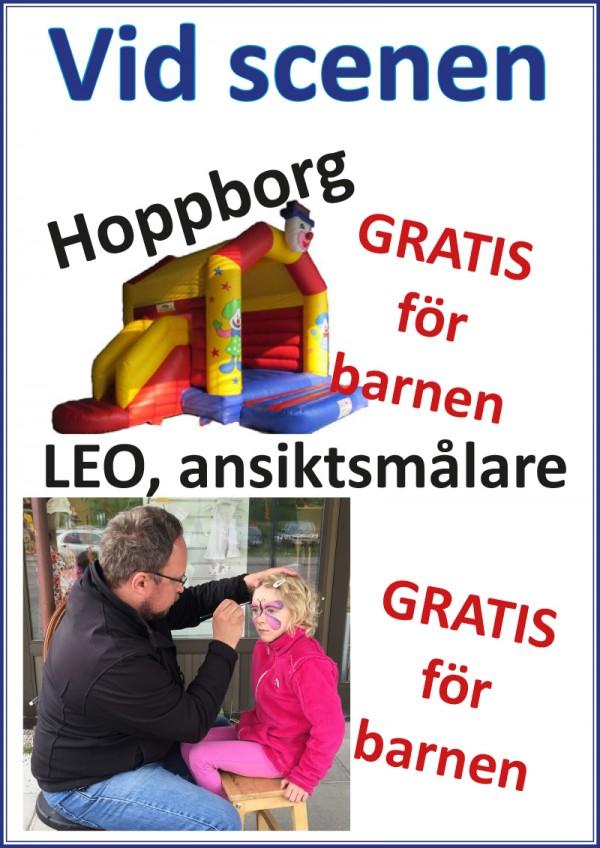 Hoppborg LEO skylt